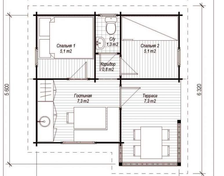 Летний дом из бруса ЛД-9 (5.6х5.4) (нажмите для увеличения)