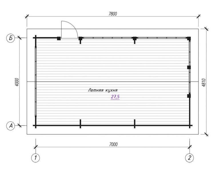 Летняя кухня ЛК-3 (7х4) (нажмите для увеличения)