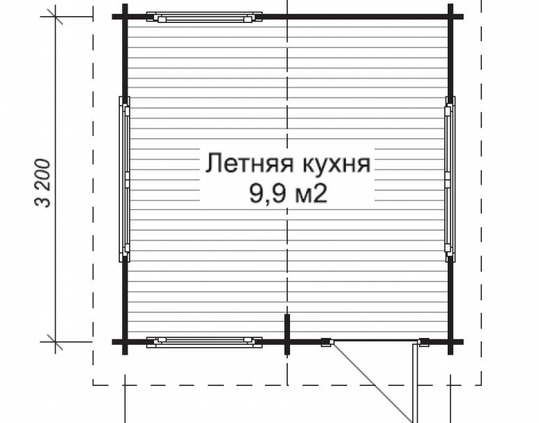 Летняя кухня ЛК-6 (3.2х3.2) (нажмите для увеличения)
