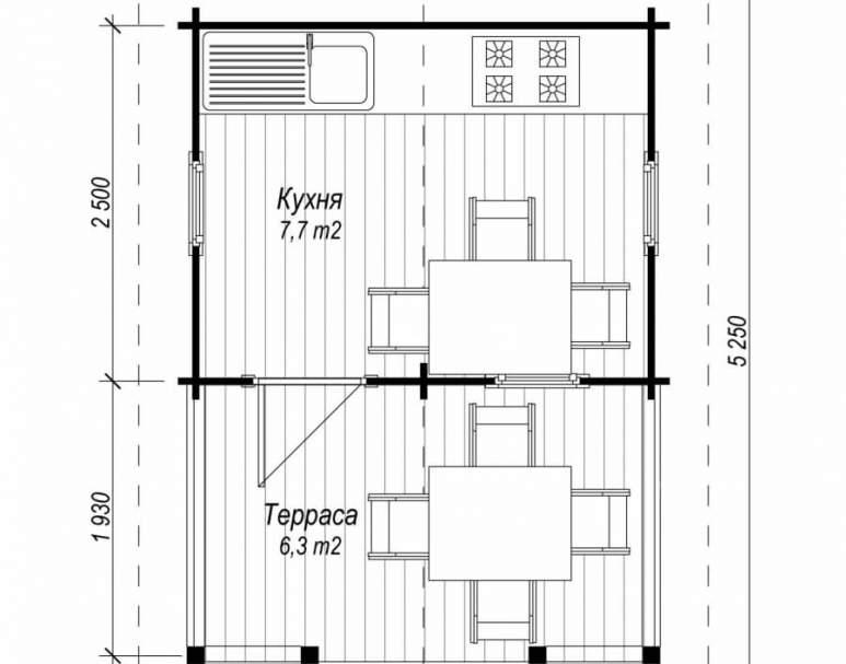 Летняя кухня ЛК-7(4.5х3.2) (нажмите для увеличения)