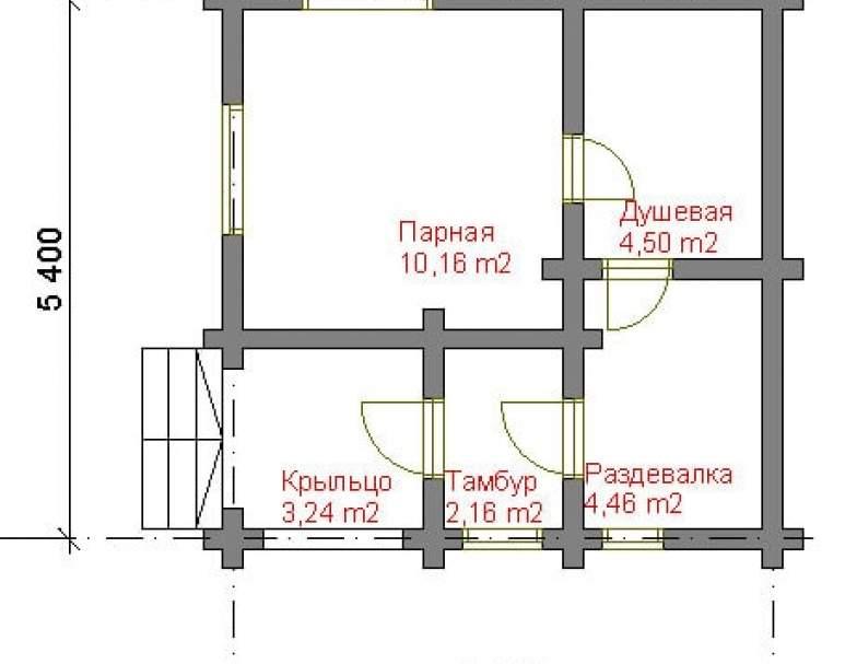 Баня из кругляка СБ-102 (нажмите для увеличения)