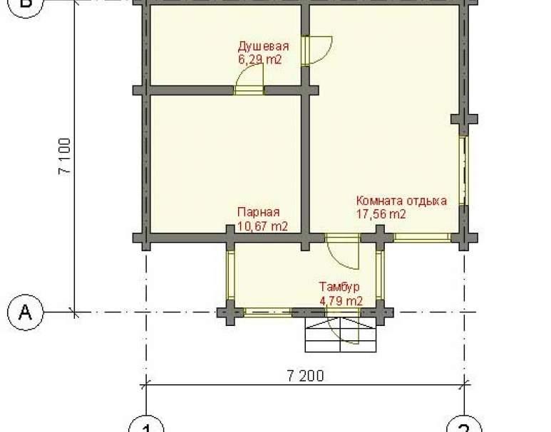 Классическая баня из бревна СБ-122 (нажмите для увеличения)