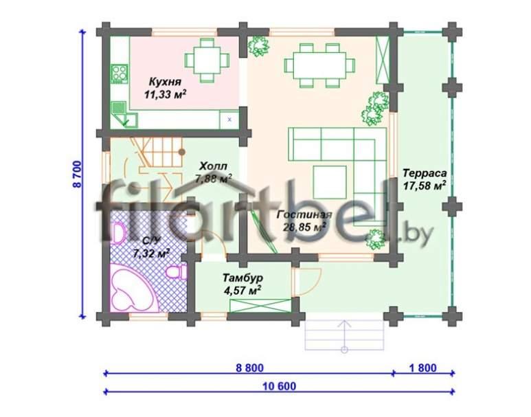 Дом из оцилиндрованного бревна ОД-01 (нажмите для увеличения)