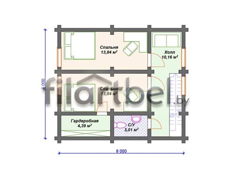 Дом из оцилиндрованного бревна ОД-02 (нажмите для увеличения)