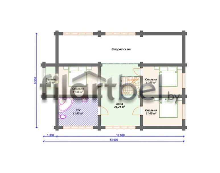Дом из оцилиндрованного бревна ОД-04 (нажмите для увеличения)
