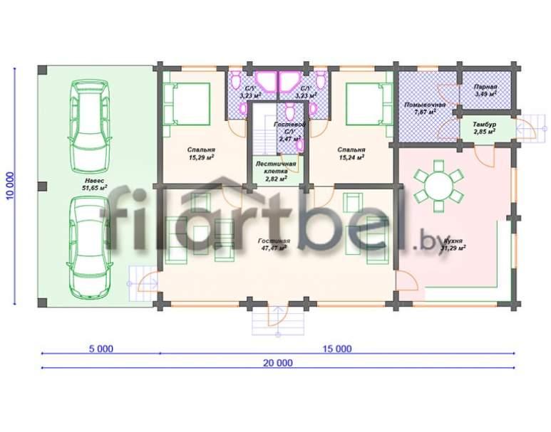 Дом из оцилиндрованного бревна ОД-05 (нажмите для увеличения)