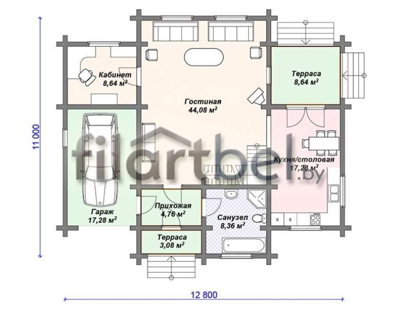 Дом из оцилиндрованного бревна ОД-06 (нажмите для увеличения)