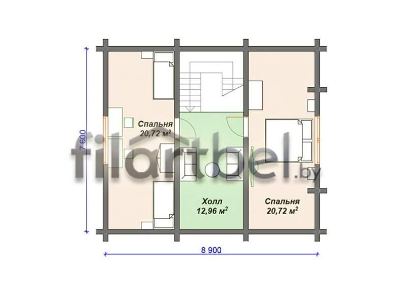 Дом из оцилиндрованного бревна ОД-07 (нажмите для увеличения)