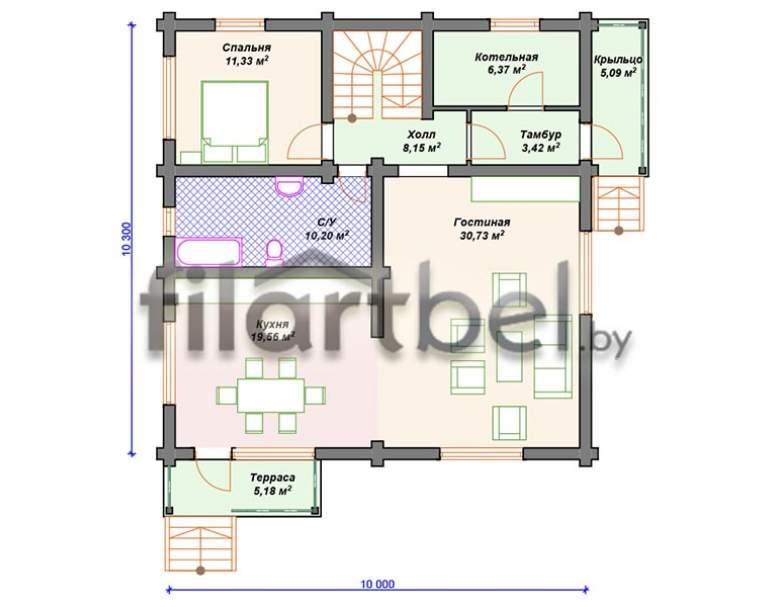 Дом из оцилиндрованного бревна ОД-08 (нажмите для увеличения)