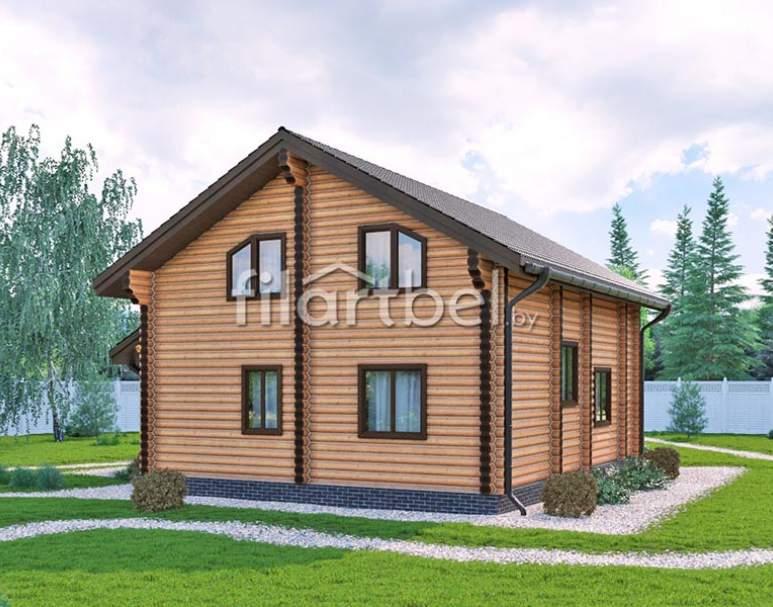 Дом из оцилиндрованного бревна ОД-10 (нажмите для увеличения)