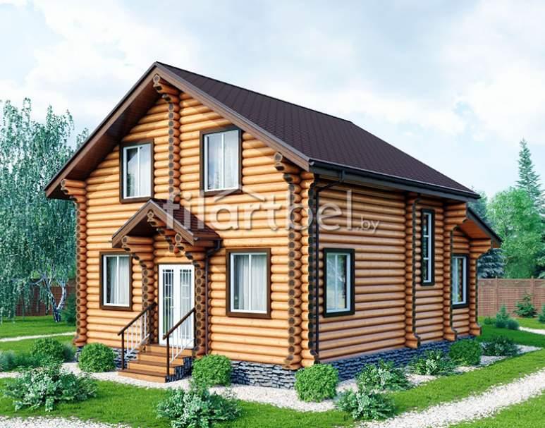 Дом из оцилиндрованного бревна ОД-11 (нажмите для увеличения)