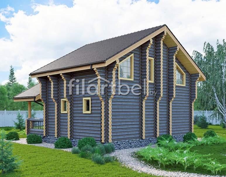 Дом из оцилиндрованного бревна ОД-12 (нажмите для увеличения)