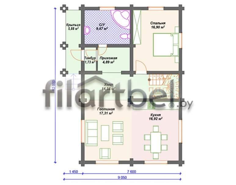 Дом из оцилиндрованного бревна ОД-14 (нажмите для увеличения)