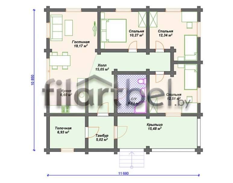 Дом из оцилиндрованного бревна ОД-15 (нажмите для увеличения)