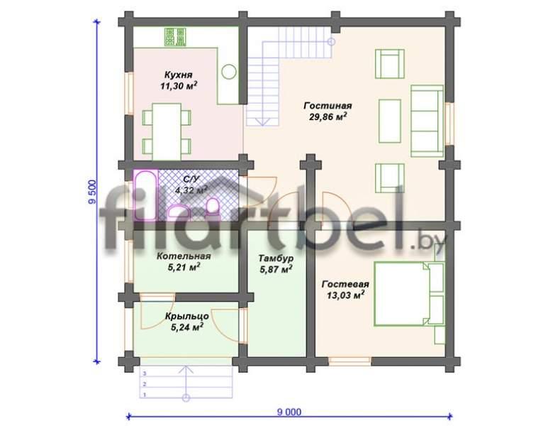 Дом из оцилиндрованного бревна ОД-16 (нажмите для увеличения)