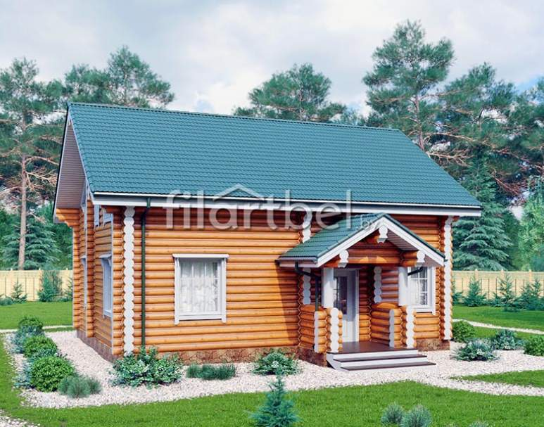 Дом из оцилиндрованного бревна ОД-18 (нажмите для увеличения)