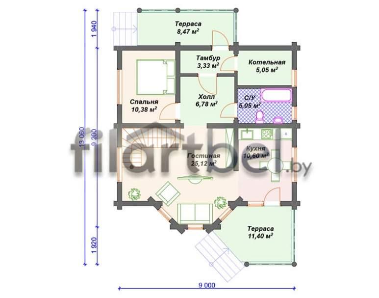 Дом из оцилиндрованного бревна ОД-21 (нажмите для увеличения)