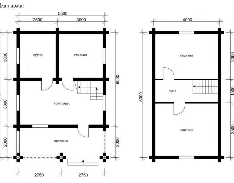 Дом из оцилиндрованного бруса ОБ-01 (нажмите для увеличения)