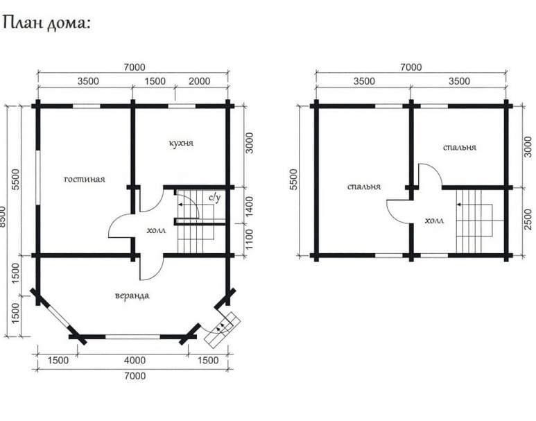 Дом из оцилиндрованного бревна ОБ-11 (нажмите для увеличения)