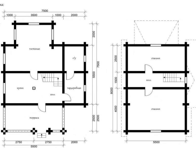 Дом из оцилиндрованного бруса ОБ-18 (нажмите для увеличения)