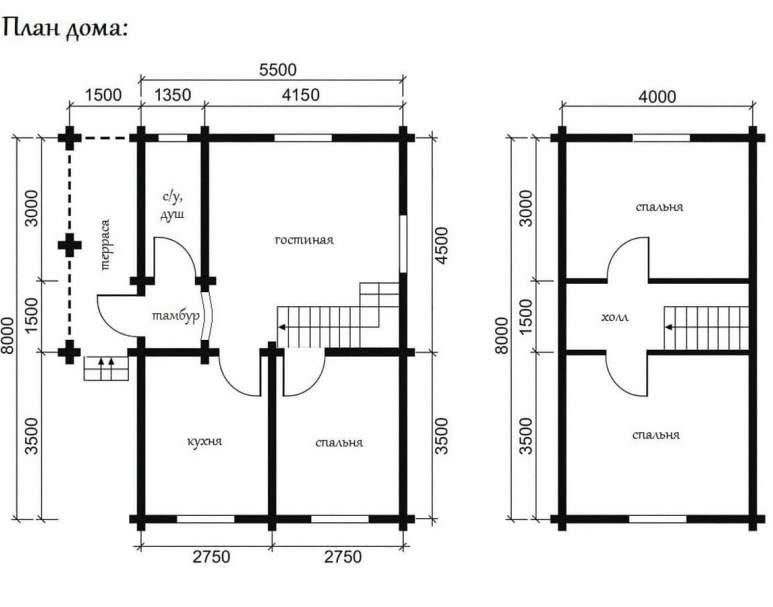 Дом из оцилиндрованного бревна ОБ-02 (нажмите для увеличения)