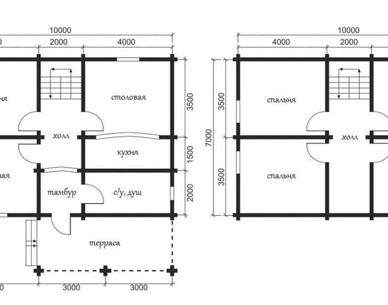 Дом из оцилиндрованного бруса ОБ-22 (нажмите для увеличения)