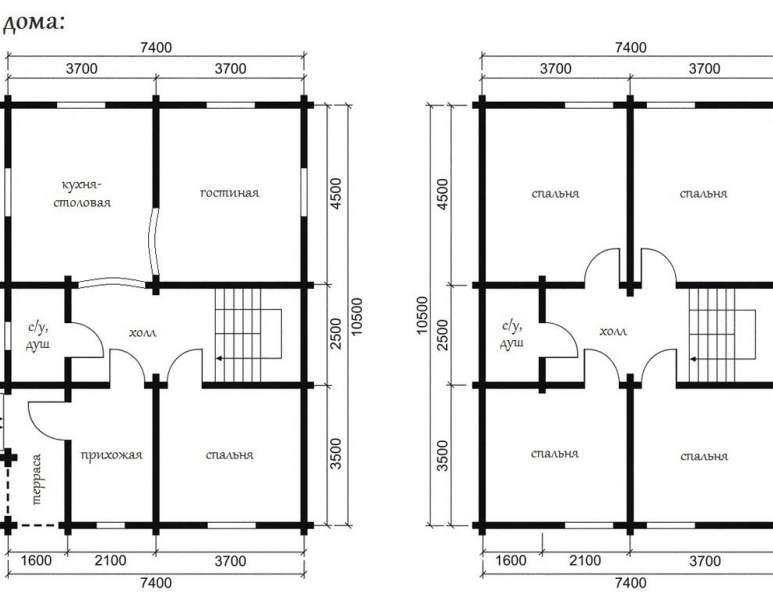Дом из оцилиндрованного бруса ОБ-25 (нажмите для увеличения)