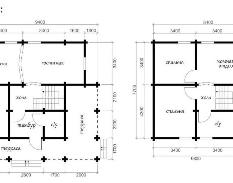 Дом из оцилиндрованного бруса ОБ-28 (нажмите для увеличения)
