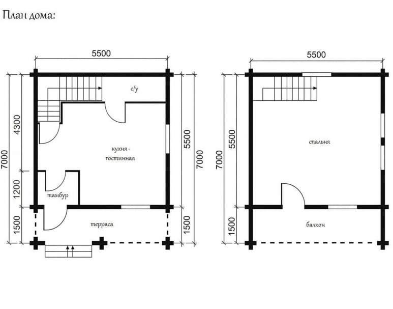 Дом из кругляка ОБ-03 (нажмите для увеличения)