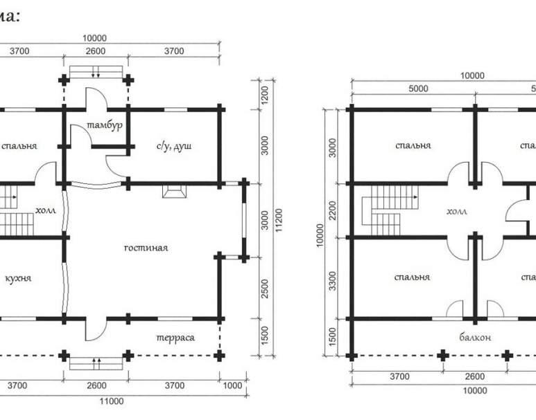 Дом из оцилиндрованного бруса ОБ-32 (нажмите для увеличения)