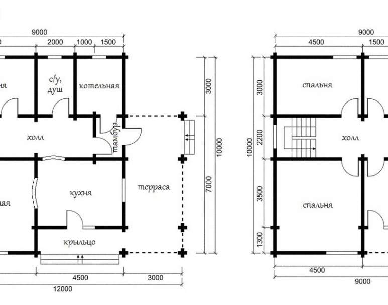 Дом из оцилиндрованного бревна ОБ-35 (нажмите для увеличения)