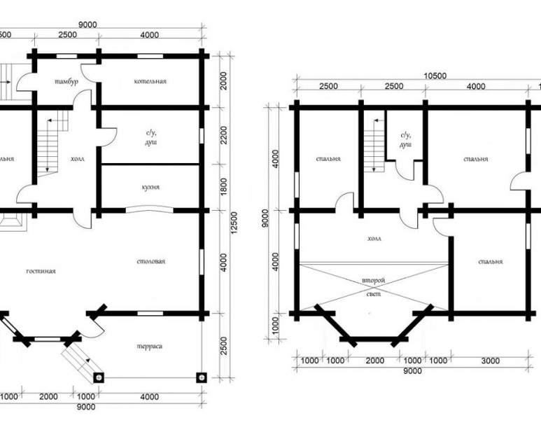 Дом из оцилиндрованного бруса ОБ-36 (нажмите для увеличения)