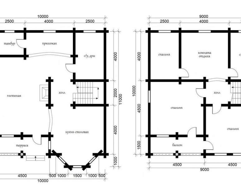 Дом из оцилиндрованного бруса ОБ-38 (нажмите для увеличения)