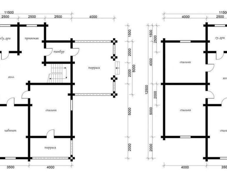 Дом из кругляка ОБ-42 (нажмите для увеличения)