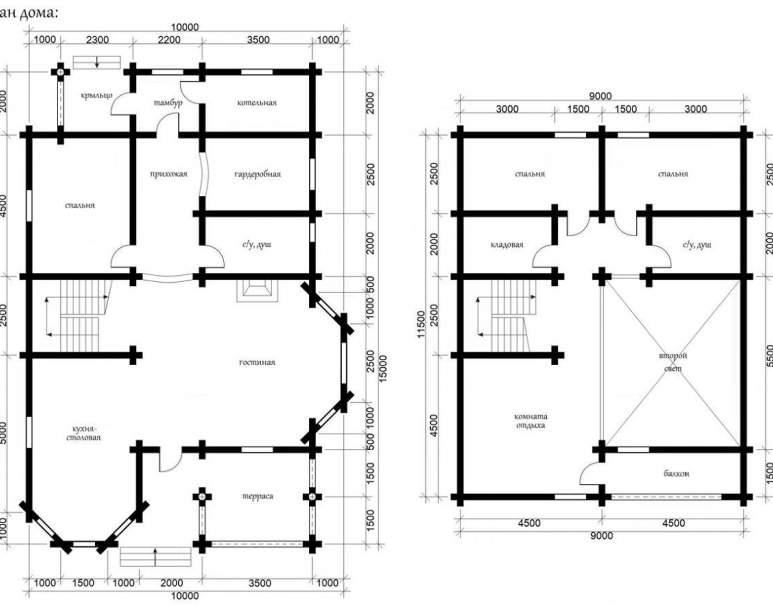 Дом из оцилиндрованного бруса ОБ-43 (нажмите для увеличения)
