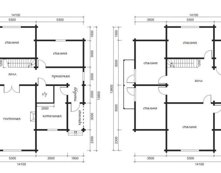 Дом из кругляка ОБ-44 (нажмите для увеличения)