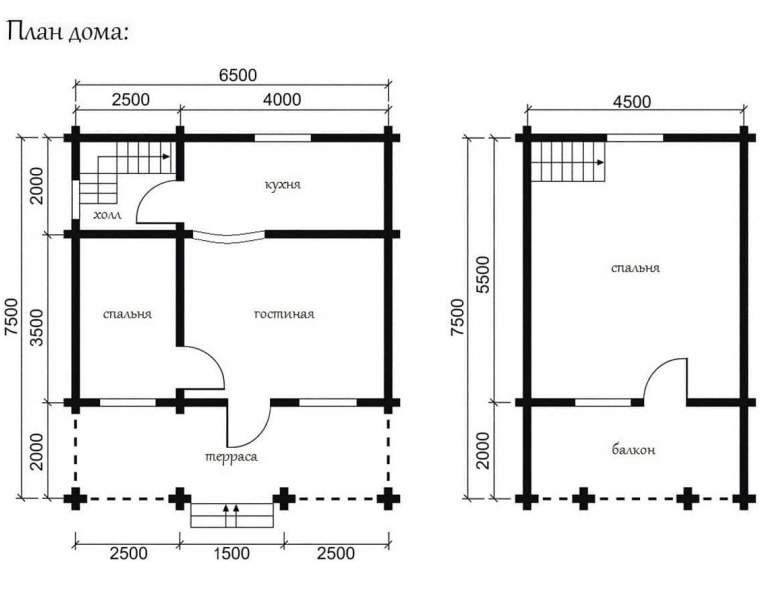 Дом из оцилиндрованного бруса ОБ-07 (нажмите для увеличения)