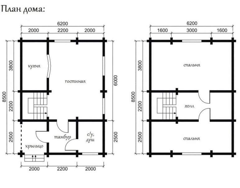 Дом из оцилиндрованного бруса ОБ-08 (нажмите для увеличения)