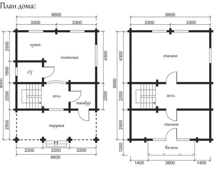 Дом из кругляка ОБ-09 (нажмите для увеличения)