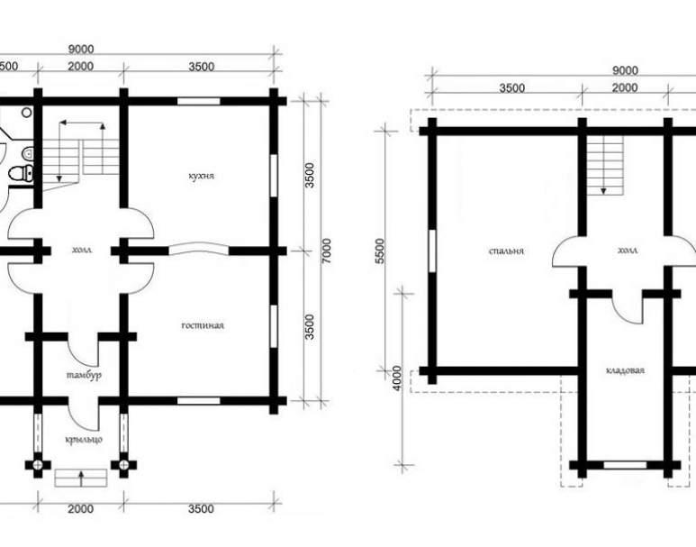 Дом из кругляка ОБ-14 (нажмите для увеличения)
