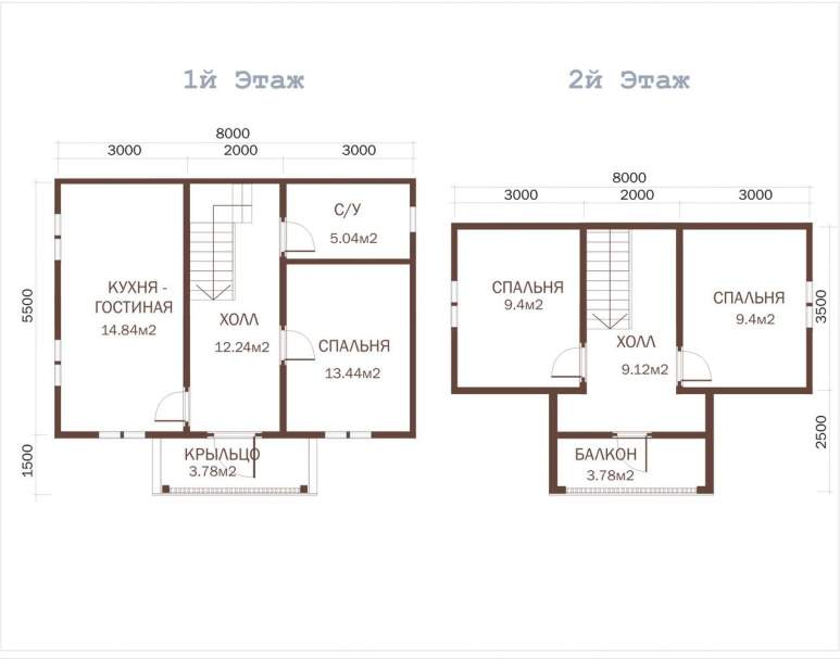 Дачный дом из бруса ДД-23 (нажмите для увеличения)