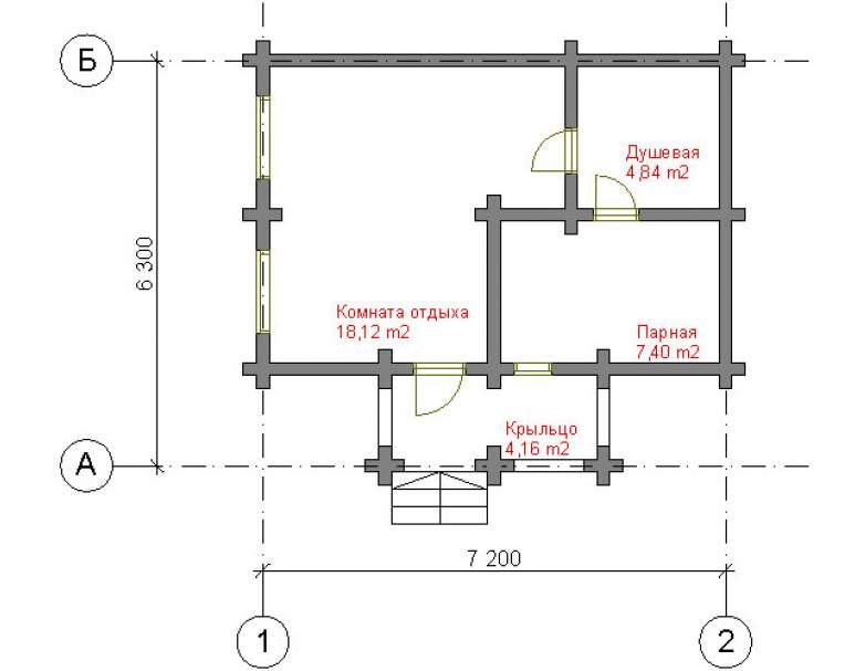 Классическая баня из кругляка СБ-107 (нажмите для увеличения)